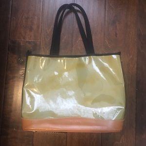 PRADA Tote handbag plastic and leather Sz medium